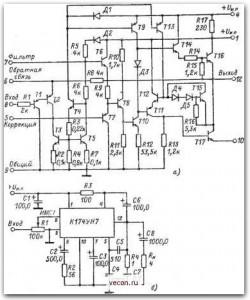 Рис. 4-47.  Принципиальная схема микросхемы К174УИ7 (а) и типовая схема ее включений (б). lI I t.J.LJ.